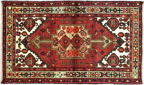 Perser Hamadan 144x95 Handgeknüpft Orientteppich 100x140 Rot Medaillon Wolle Kurzflor