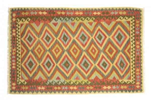 Afghan Maimana Kelim Bunt 243x154 Handgewebt Teppich 150x240 Beige Geometrisch Muster
