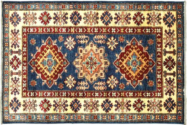 Afghan Kazak Fein 129x84 Handgeknüpft Orientteppich 80x130 Blau Umrandung Wolle