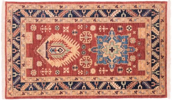 Afghan Chobi Ziegler 149x89 Handgeknüpft Teppich 90x150 Rot Geometrisch Muster Kurzflor