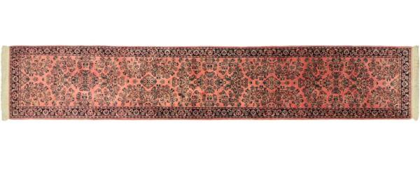 Sarough Teppich 80x430 Handgeknüpft Läufer Rosa Floral Wolle Kurzflor Rug