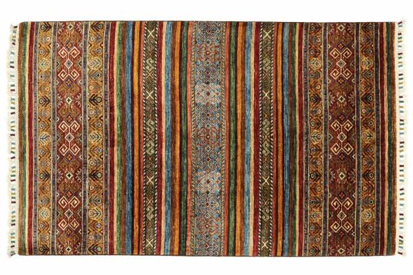 Afghan Ziegler Khorjin 174x120 Handgeknüpft Orientteppich 120x170 Rot Floral Wolle
