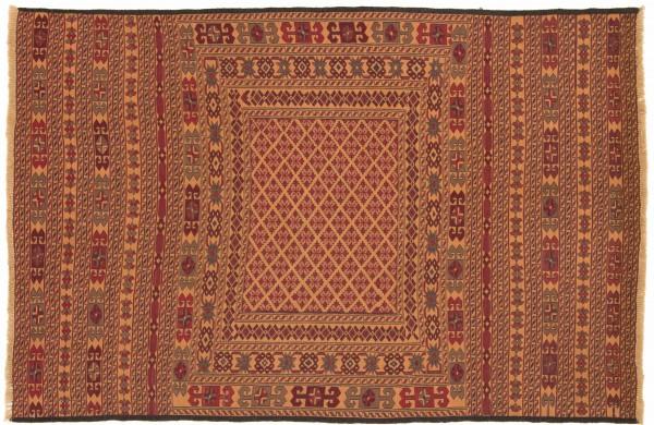 Afghan Mushwani Kelim 185x126 Handgewebt Teppich 130x190 Orange Orientalisch Handarbeit