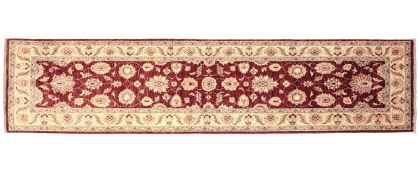 Afghan Chobi Ziegler 303x81 Handgeknüpft Teppich 80x300 Läufer Rot Orientalisch