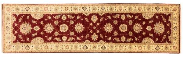 Afghan Chobi Ziegler 301x84 Handgeknüpft Teppich 80x300 Läufer Rot Blumenmuster