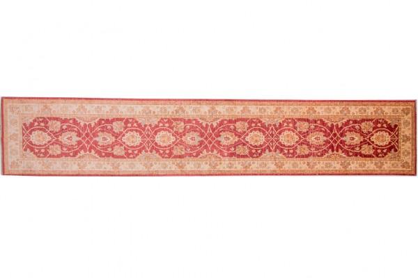 Afghan Chobi Ziegler 436x82 Handgeknüpft Teppich 80x440 Läufer Rot Orientalisch