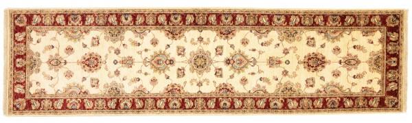 Afghan Chobi Ziegler 304x84 Handgeknüpft Teppich 80x300 Läufer Beige Blumenmuster