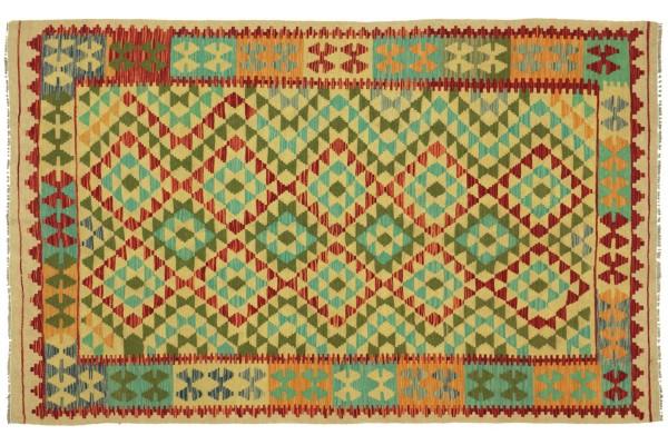 Afghan Maimana Kelim Bunt 226x152 Handgewebt Teppich 150x230 Bunt Geometrisch Orient