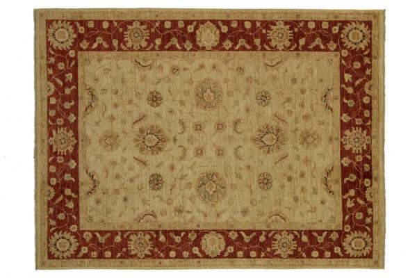 Afghan Chobi Ziegler 198x151 Handgeknüpft Teppich 150x200 Beige Blumenmuster Kurzflor