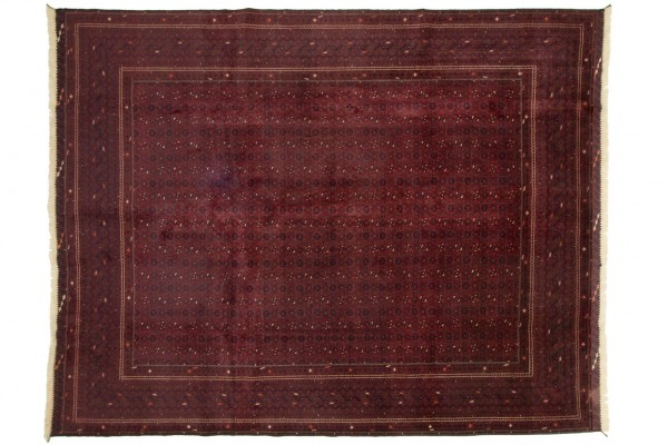 Afghan Orientteppich 375x301 Handgeknüpft Teppich 300x380 Rot Orientalisch Kurzflor