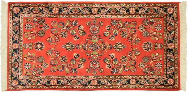 Sarough Teppich 90x160 Handgeknüpft Orange Floral Wolle Kurzflor Rug