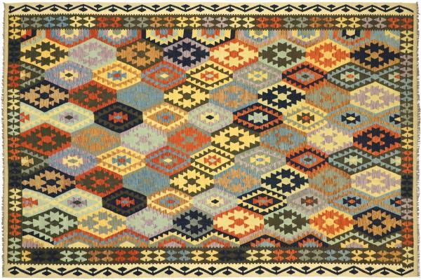 Afghan Maimana Kelim Bunt 346x260 Handgewebt Teppich 260x350 Grau Geometrisch Orient