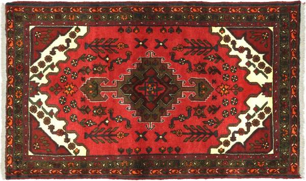 Perser Hamadan 140x93 Handgeknüpft Orientteppich 90x140 Rot Medaillon Wolle Kurzflor