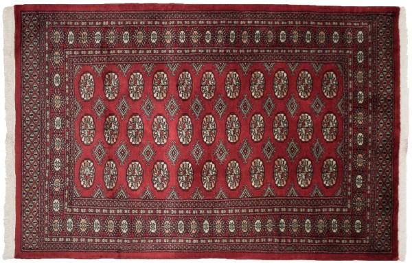 Pakistan Buchara 184x122 Handgeknüpft Teppich 120x180 Rot Orientalisch Kurzflor Orient