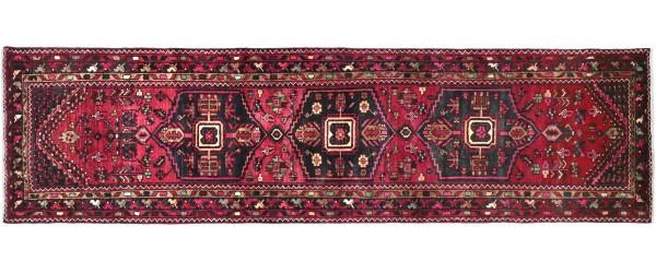 Perser Hamedan Teppich 100x320 Handgeknüpft Läufer Rot spiegelmuster Wolle Kurzflor Rug