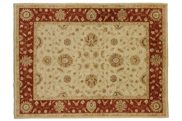 Afghan Chobi Ziegler 198x150 Handgeknüpft Teppich 150x200 Beige Blumenmuster Kurzflor