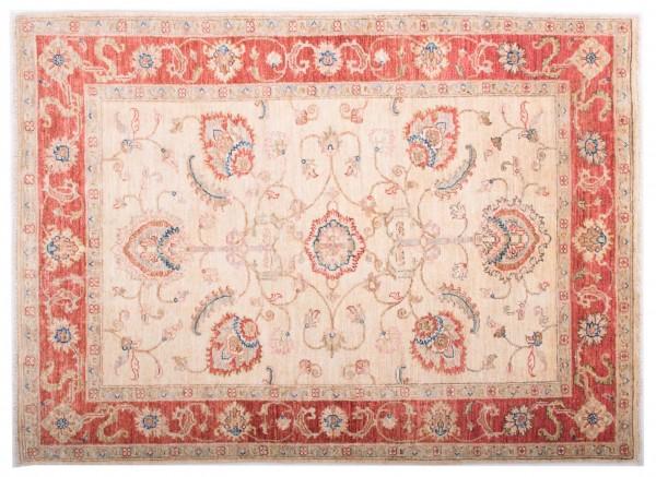 Afghan Chobi Ziegler Fein 144x105 Handgeknüpft Teppich 110x140 Rot Blumenmuster