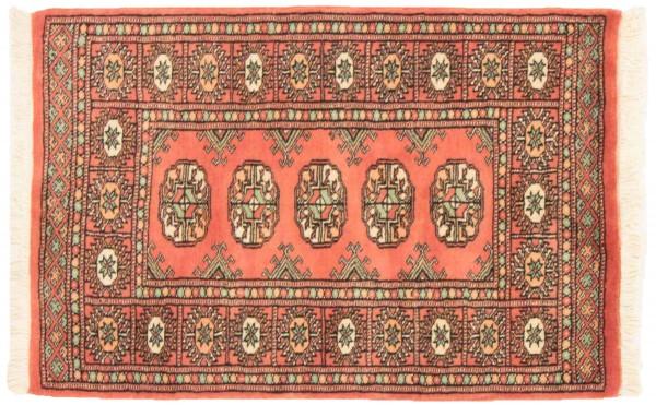 Pakistan Buchara 96x65 Handgeknüpft Teppich 70x100 Orange Geometrisch Muster Kurzflor