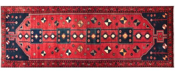 Perser Hamedan Teppich 110x300 Handgeknüpft Läufer Rot spiegelmuster Wolle Kurzflor Rug