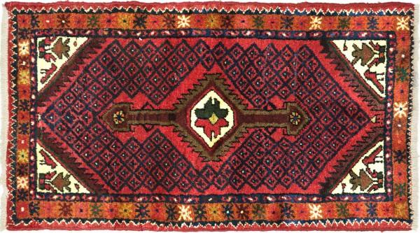 Perser Hamadan Vogel 107x65 Handgeknüpft Orientteppich 70x110 Rot Medaillon Wolle