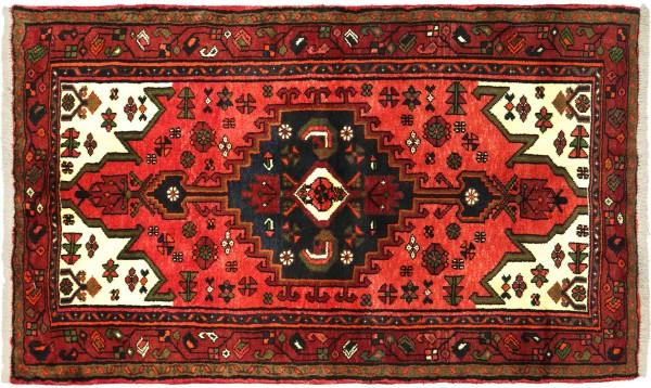 Perser Hamadan 141x95 Handgeknüpft Orientteppich 100x140 Rot Medaillon Wolle Kurzflor
