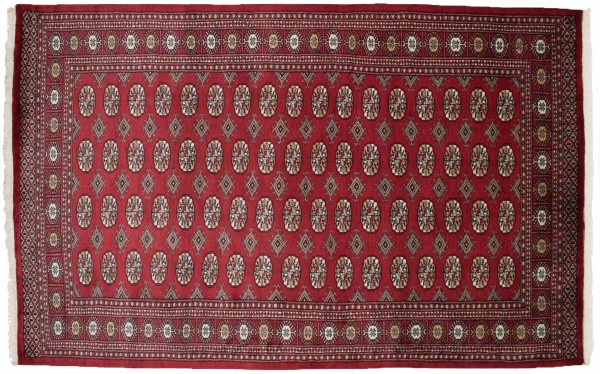 Pakistan Buchara 243x154 Handgeknüpft Teppich 150x240 Rot Geometrisch Muster Kurzflor