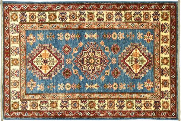 Afghan Kazak Fein 131x85 Handgeknüpft Orientteppich 90x130 Blau Umrandung Wolle