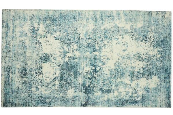 Handloom Vintage 230x150 Handgewebt Teppich 150x230 Blau Abstrakt Handarbeit Orient