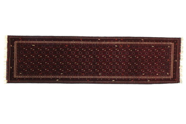 Afghan Mauri 288x86 Handgeknüpft Teppich 90x290 Läufer Rot Geometrisch Kurzflor Orient