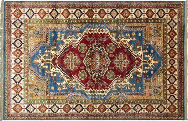 Afghan Kazak Fine Teppich 170x240 Handgeknüpft Beige Geometrische Wolle Kurzflor Rug