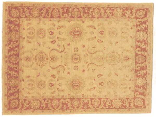 Afghan Chobi Ziegler 233x169 Handgeknüpft Teppich 170x230 Beige Orientalisch Kurzflor