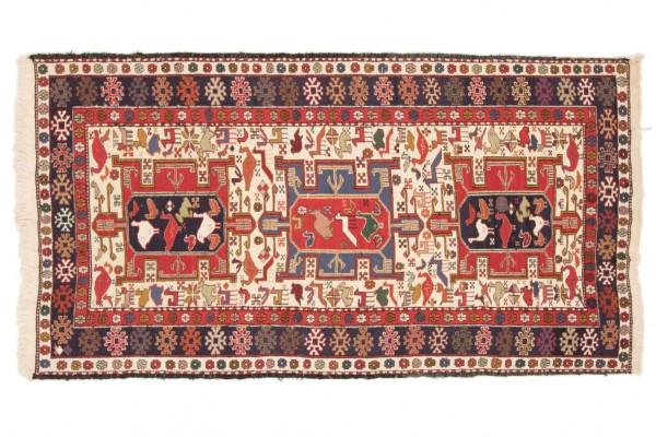 Perser Seidensoumakh 201x112 Handgewebt Teppich 110x200 Mehrfarbig Orientalisch