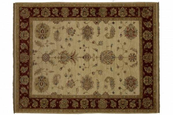 Afghan Chobi Ziegler 196x155 Handgeknüpft Teppich 160x200 Beige Orientalisch Kurzflor