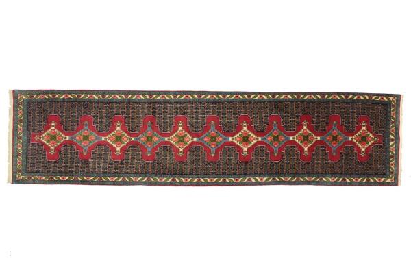 Perser Senneh-Läufer 397x95 Handgeknüpft Teppich 100x400 Läufer Rot Geometrisch