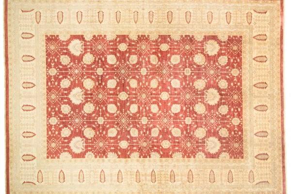 Afghan Chobi Ziegler 521x368 Handgeknüpft Teppich 370x520 Beige Orientalisch Kurzflor