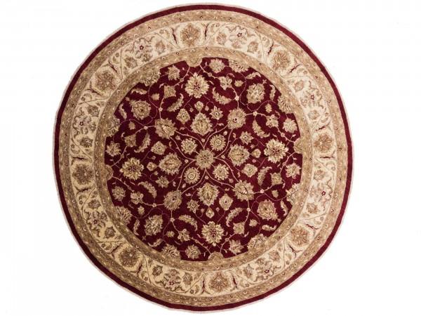 Afghan Chobi Ziegler Rund 304x304 Handgeknüpft Teppich 300x300 Quadratisch Rot
