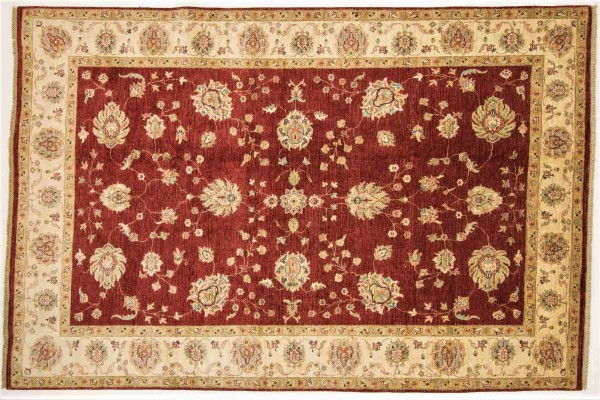 Afghan Chobi Ziegler 300x201 Handgeknüpft Teppich 200x300 Rot Orientalisch Kurzflor