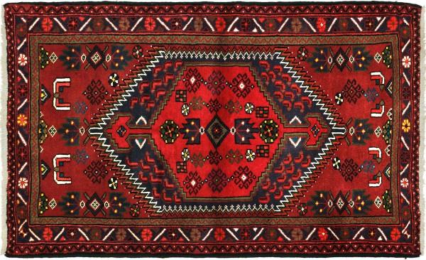 Perser Hamadan 150x103 Handgeknüpft Orientteppich 100x150 Rot Medaillon Wolle Kurzflor