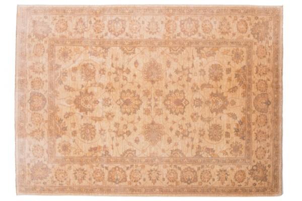 Afghan Chobi Ziegler 194x145 Handgeknüpft Teppich 150x190 Beige Orientalisch Kurzflor