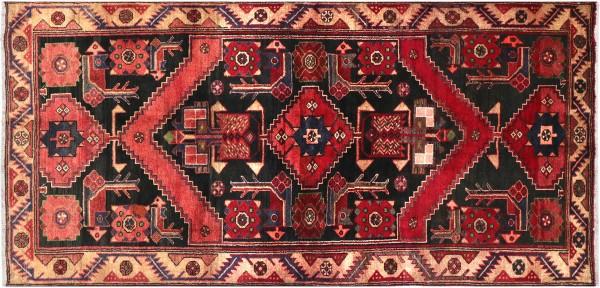 Perser Hamedan Teppich 120x220 Handgeknüpft Rot spiegelmuster Wolle Kurzflor Rug