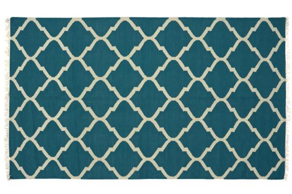 Kelim 270x170 Handgewebt Teppich 170x270 Blau Ornamente Handarbeit Orient Zimmer