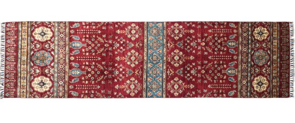 Afghan Khorjin Ziegler Blumen Teppich 90x300 Handgeknüpft Läufer Rot Geometrische Wolle