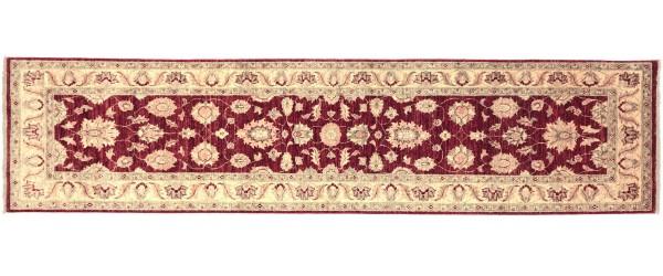 Afghan Chobi Ziegler 300x79 Handgeknüpft Teppich 80x300 Läufer Rot Orientalisch