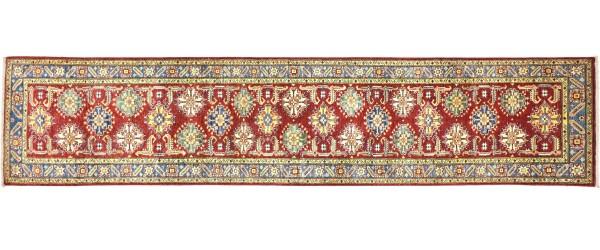 Afghan Kazak Fein 342x77 Handgeknüpft Orientteppich 80x340 Läufer Rot Geometrisch Wolle
