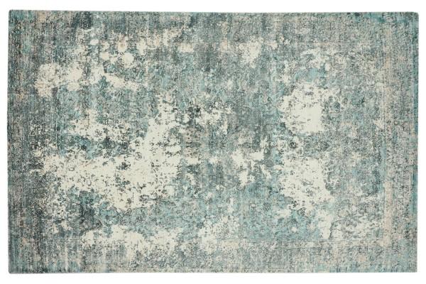 Handloom Vintage 170x240 250x300 250x350 Handgewebt Teppich Blau Abstrakt Handarbeit