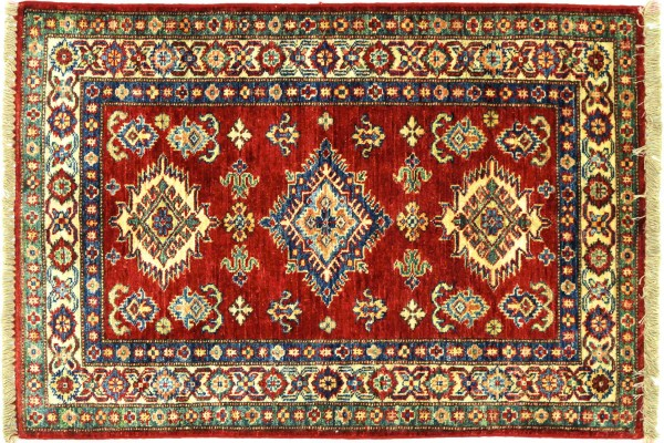 Afghan Kazak Fein 114x81 Handgeknüpft Orientteppich 80x110 Rot Umrandung Wolle Kurzflor
