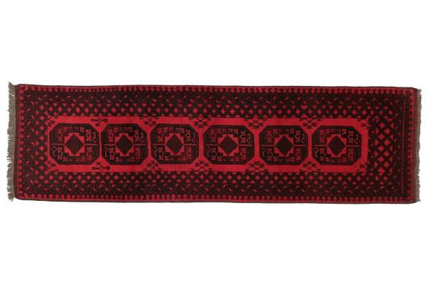 Afghan Aqcha 290x85 Handgeknüpft Teppich 90x290 Läufer Rot Geometrisch Kurzflor Orient