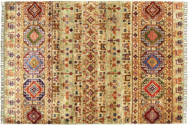 Afghan Ziegler Shaal Nomaden 241x176 Handgeknüpft Orientteppich 180x240 Grau Streifen