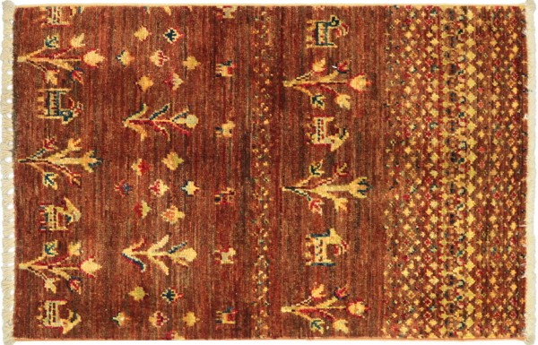 Afghan Ziegler Khorjin Blumen Teppich 60x80 Handgeknüpft Braun Landschaft Wolle