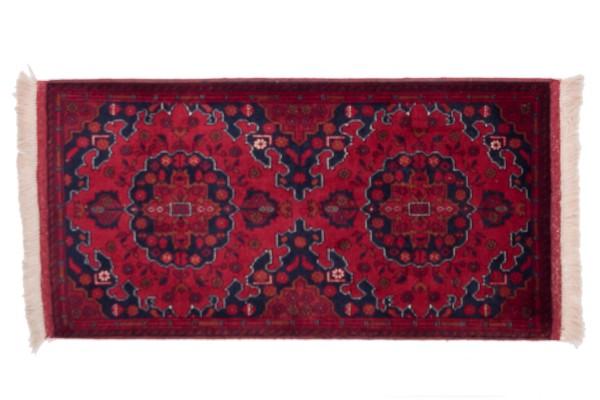 Afghan Belgique Khal Mohammadi 100x50 Handgeknüpft Teppich 50x100 Braun Geometrisch